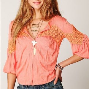Free People Crinkle and Lace Blouse Size Medium